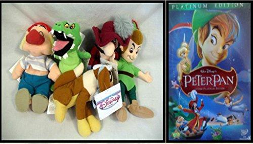 PETER PAN BEAN BAG FIVE PIECE SET WITH PETER PAN, NANA, SMEE, CAPTAIN HOOK AND CROCK PLUSH PLATINUM TWO DISK (2 Piece Peter Pans)