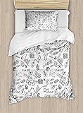 Ambesonne Money Twin Size Duvet Cover Set, Monochrome Pattern with Euro Dollar Yen Symbols Coins Piggy Bank Stock Graphs Doodle, Decorative 2 Piece Bedding Set with 1 Pillow Sham, Black White