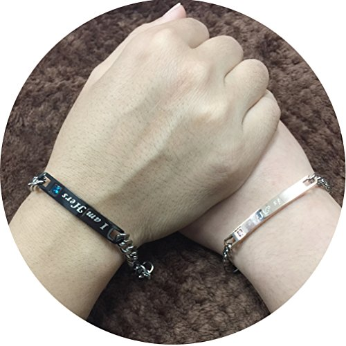 4EAELove His & Her Couple Bracelet Matching Set Engraved Wrist Bangles Titanium Stainless Steel Crystal Best Idea Gifts Present (I am Hers,He is Mine)