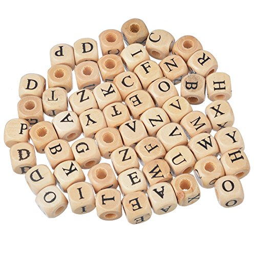 Yalulu 200pcs Mixed Wooden Letter/Alphabet Beads Letter A-z Cube Beads Size 10x10mm for Kid Craft Bracelets Project Jewelry (Nature ()