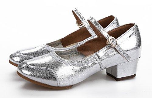Honeystore Classic Womens Cow Leather Salsa Latin Dance Shoes Mary Jane Silver kHiG3Em6e