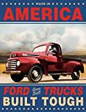 vintage automotive signs - Ford Trucks Built Tough Retro Vintage Tin Sign 13 x 16in