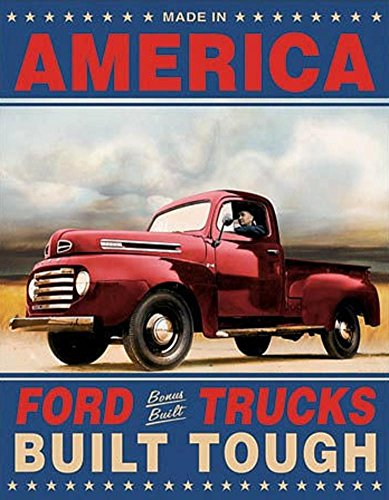 Ford Trucks Built Tough Retro Vintage Tin Sign 13 x 16in
