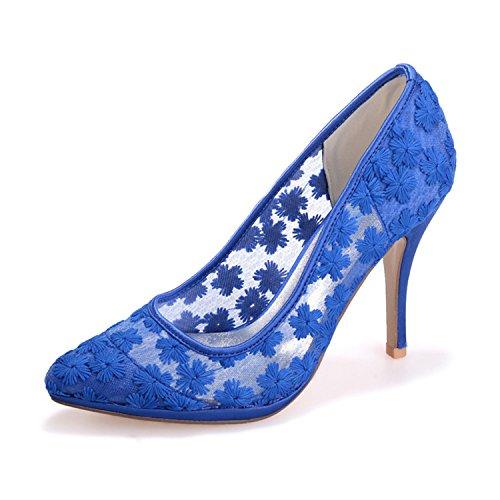 Sarahbridal ,  Damen Durchgängies Plateau Sandalen mit Keilabsatz Blau