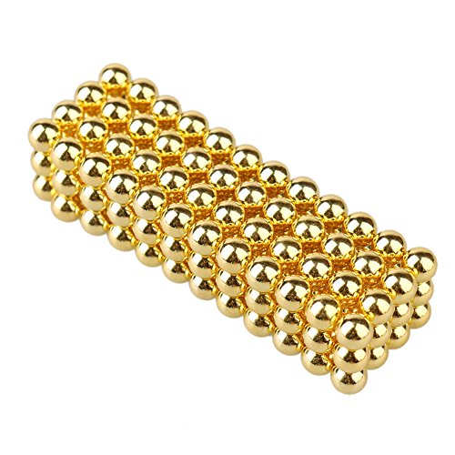 Magnetic Ball Cube Puzzle, 216 Pcs Magic Beads Sculpture DIY Intelligence Toys for Office Stress Relif Decompression (Yellow)