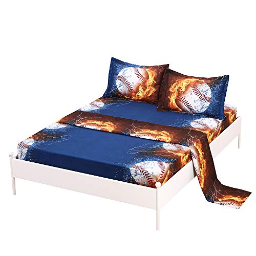 SDIII 3PC Baseball Bed Sheets Twin Size Sport Bedding Sheet Sets with Flat Fitted Sheet for Boys, Girls and Teens