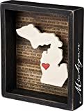 This wooden inset box sign features a dimensional Michigan state silhouette, background list of the most populated cities, and adhesive mini heart to place on a hometown or favorite spot. Includes a back saw tooth hanger or can free-stand alone on a ...
