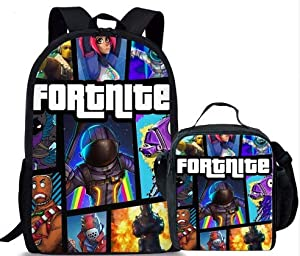 FortniteMerch - Fortnite Backpack Bundle Lunch Box School Bags Anti Theft Luminous Travel