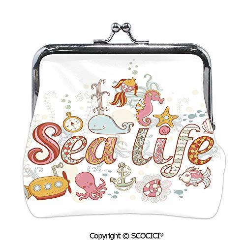 SCOCICI Girl Lightweight Wallet,Sea Life Theme Underwater,Mini Clutch Wallet