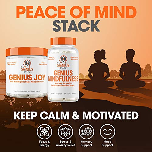 Genius Joy - Serotonin Mood Booster for Anxiety Relief, Wellness & Brain Support, Nootropic Dopamine Stack w/Sam-e, Panax Ginseng & L-Theanine - Natural Anti Stress & Herbal Calm, 100 veggie pills
