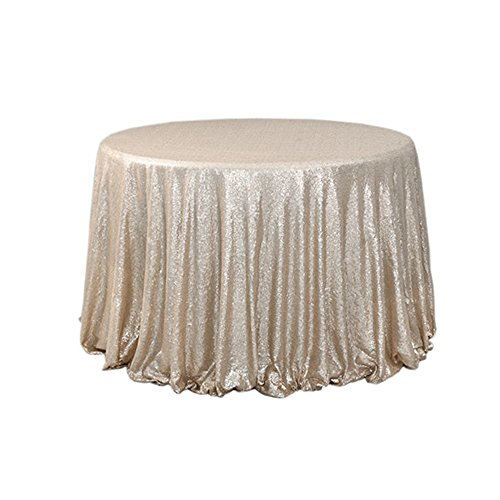 BalsaCircle TRLYC Sequin Round Champagne Cake Sequin Tablecloth for Wedding Party Banquet 120-Inch (Champagne Tablecloths Cheap)