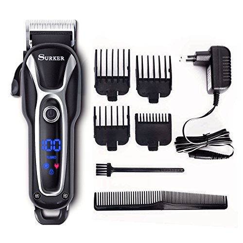 SURKER Hair Clipper Men's Electric Cordless Hair Trimmer Speed Adjustable Professional Haircut Beard Trimmer Hair Cutting Machine Kit with Ceramic Cutting Head four Attachment Combs by Surker