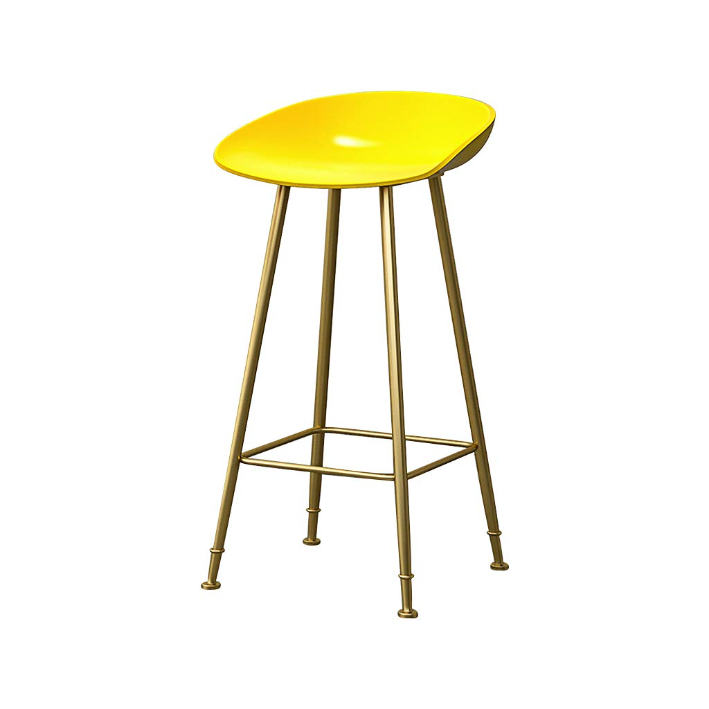 Yellow 75cm Bar Stools Bar Chairs Breakfast Dining Stools for Kitchen Island Counter Bar Stools Loading 120 KG PP Material Sitting Surface gold Metal Legs