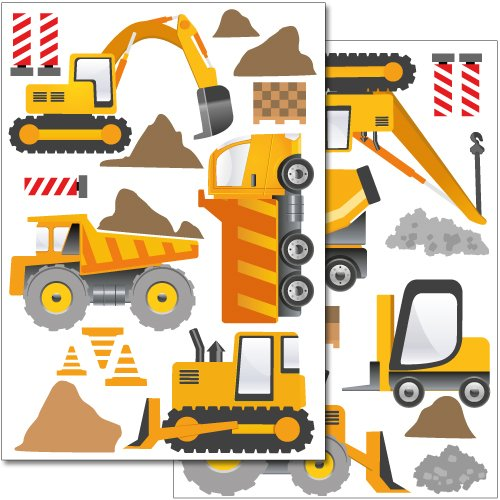 Wandkings wall stickers Construction Machines Sticker Set - more than 30 stickers on 2 US letter sheets (each 8.3 x 11.7 inch)