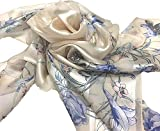Silk Scarf, SS889065 Flow Flower, precision printed, made in Japan, lightairy satin, Brand Cased (Blue)