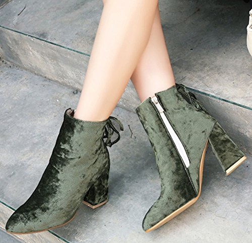 Chunky Women's Aisun High Frosted Green Dressy Booties Pointy Heels Short Toe FUwxqfA