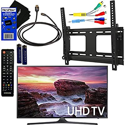 """Samsung Electronics UN40MU6290 40"""" Inch HDR 4K Ultra HD Smart LED TV + Fotolux TV Wall Mount Tilting Bracket + Remote Control + Component Cables + Xtech HDMI Cable + HeroFiber Gentle Cleaning Cloth"""
