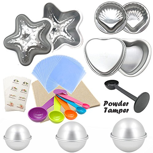 Bath Bomb DIY Kit,12PC Multi-shape Aluminum Molds and Tools