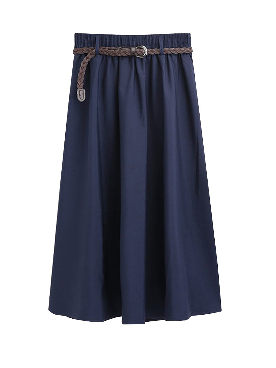 FON ALLEY Women's Elastic Waist Midi Skirt with Waistband (Navy)