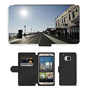 Hot Style Cell Phone Card Slot PU Leather Wallet Case // M00170677 Ocean City New Jersey Beach Boardwalk // HTC One M9
