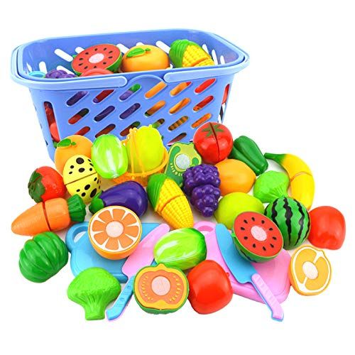 Xinyi Cutting Fruits Toys, Pretend Play Magnetic Kitchen Toy, Washable Non-Toxic Plastic, Top Educational Kit for Boys and Girls 6pcs