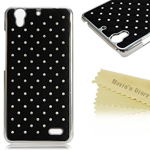 """Huawei G630 Case - Mavis's Diary Simple Shiny Bling Diamond Design with """"Stars All Over the Sky"""" Pattern Protective Hard Cover Case for Huawei Ascend G630 with Soft Clean Cloth (Black)"""