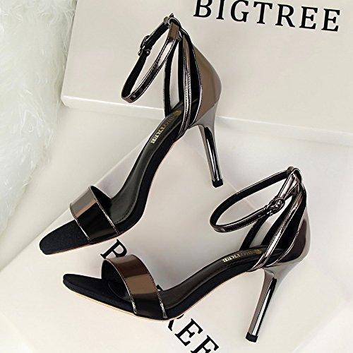 alti e Professional tacchi scarpe temperamento parola una sandali Heeled Champagne con sottile High Color Elegante ZHANGYUSEN e elegante semplice con Fine qF6ffI