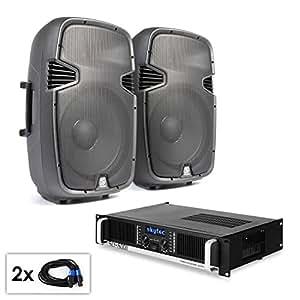 """Conjunto PA """"SPJ Boom 15M KII"""" 2 altavoces de 38cm y amplificador 1500W"""