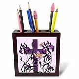 3dRose Doreen Erhardt Inspirational - Purple Iris Flowers with a Christian Cross and Butterflies - 5 inch tile pen holder (ph_266786_1)