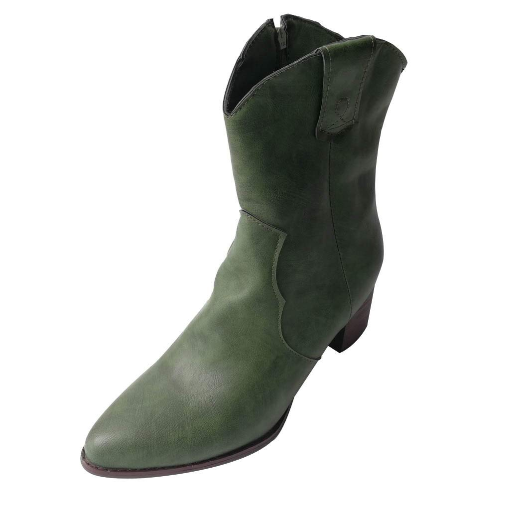 Women's Vintage Chelsea Boots,Side Zipper Chunky Stacked Western Ankle Booties Shoes Knight Boot Green by BIKETAFUWY