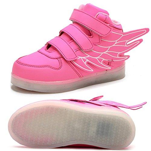 Odema Zapatos de luz LED de cana alta con alas unisex para nino Rosa