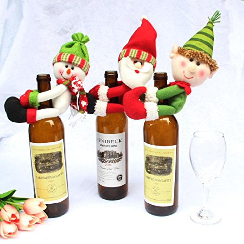 Wine Bottle Topper, Misaky Adorable Elf Wine bottle Cover Christmas Home Decoration (# 3PACK)