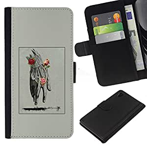 Mano Hombre Primavera Profundo Rose Significado- la tarjeta de Crédito Slots PU Funda de cuero Monedero caso cubierta de piel Para Sony Xperia Z3 Plus / Z3+ / Sony E6553 (Not Z3)