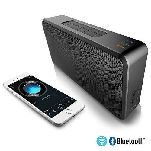 (iLuv AUD Air WiFi and Bluetooth Portable Multi-Room Speaker(Compatible with Apple and Android Smartphones, Other Bluetooth Devices, Echo Dot and MP3)(Black))