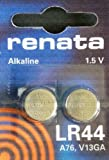 9 X Two (2) X Renata LR44 76A AG13 157 V13GA RW82 Alkaline Calculator / Watch / Key / Gadget Battery 1.5v Blister Packed Quality