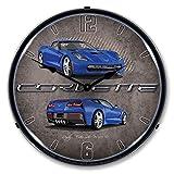 Lighted C7 Corvette Laguna Blue Clock For Sale