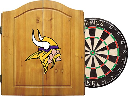 Imperial Officially Licensed NFL Merchandise: Dart Cabinet Set with Steel Tip Bristle Dartboard and Darts, Minnesota Vikings (Bristle Dartboard Wood Cabinet)