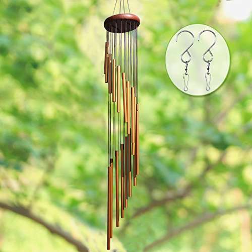 "Long Wind Chimes Outdoor, UPGRADED 36"" Wind Chimes Amazing Grace with 18 Aluminum Alloy Tubes Large Wind Chimes with Free 2 Pack Hooks, Perfect Decoration for Patio, Balcony and Indoor (Golden)"