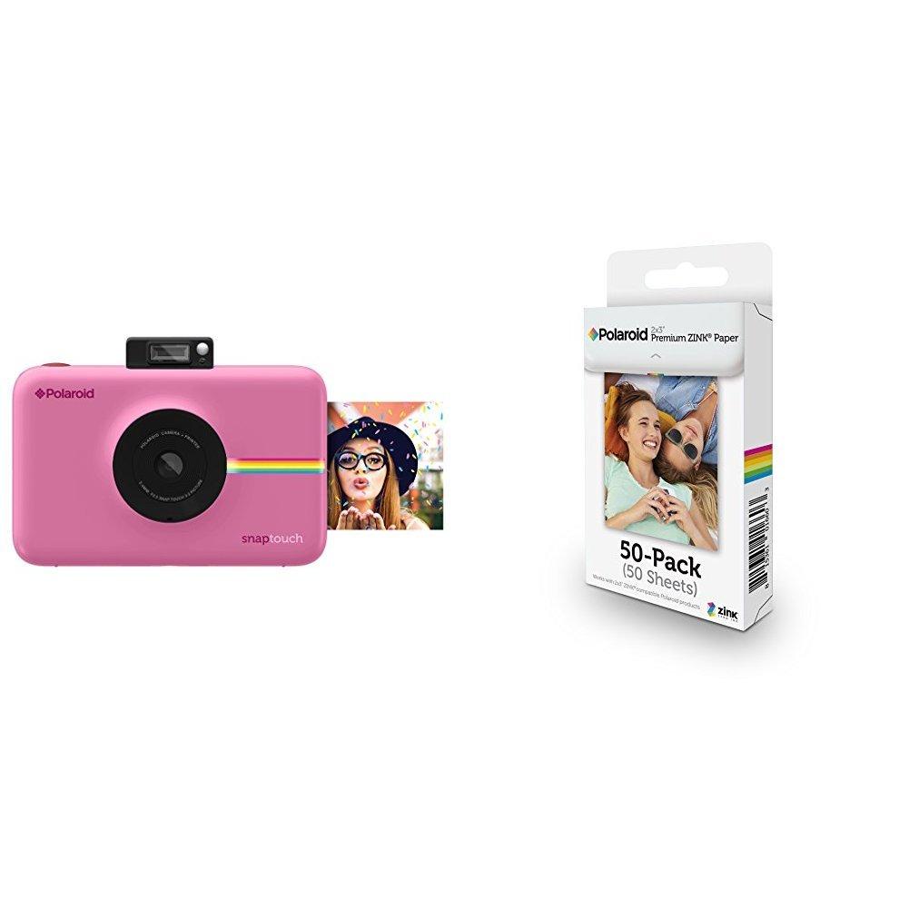 Polaroid Snap Touch Cámara digital con impresión instantánea y pantalla LCD con tecnología Zero Zink (rosada) + Polaroid M230 - Pack de 50 papeles ...
