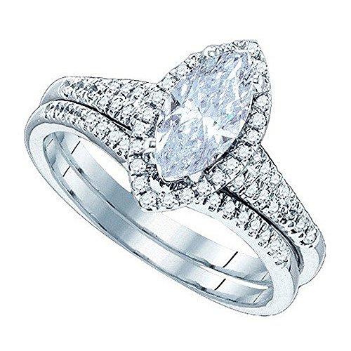 Dazzlingrock Collection 0.57 Carat (ctw) 10K Round & Marquise Cut White Diamond Engagement Wedding Ring Set 1/2 CT, White Gold