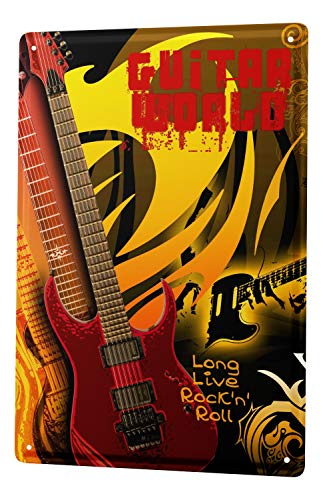 (LEotiE SINCE 2004 Tin Sign Metal Plate Decorative Sign Home Decor Plaques Guitar Rock 'n' Roll Metal Plate 8X12)