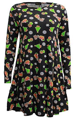 Fashion 4 Less - Vestido para mujer, manga larga, estilo navideño Black Tree