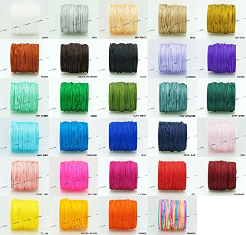 WHITE 1mm Chinese Knot Nylon Braided Cord Shamballa Macrame Beading Kumihimo String (40yards Spool)