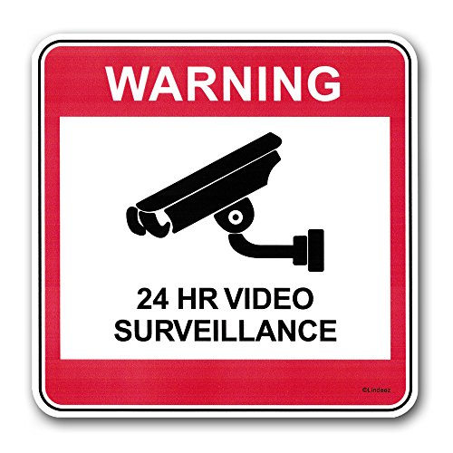Security Sticker, 24 hour video surveillance, 3 PACK, FADE PROOF!, 6 inches by 6 - Chino Target Hours
