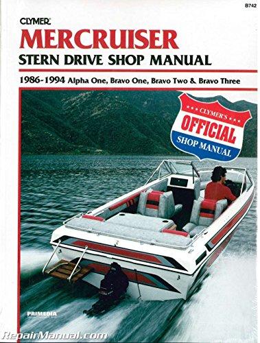 UB742 Used Mercruiser Alpha One, Bravo One, Bravo Two, Bravo Three 1986-1994 Stern Drive Boat Engine Repair Manual