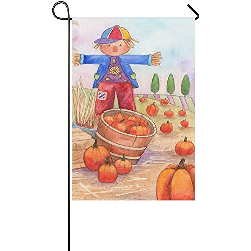 KGEDLA Autumn Pumpkin Scarecrow Long Polyester Garden Flag Banner 28 x 40 inch, Harvest Patch Time Decorative Flag for Wedding Anniversary Home Outdoor Garden Decor Scarecrow Decorative Banner