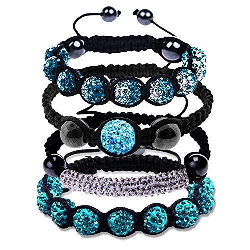 BodyJ4You 4PCS Disco Ball Bracelets Beads Aqua Clear Pave Crystals Iced Out Jewelry Gift Set ()