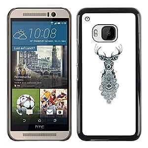 TopCaseStore / la caja del caucho duro de la cubierta de protección de la piel - Eyes White Eye Meaning - HTC One M9