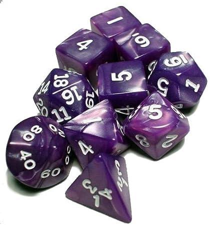 Koplow RPG Dice Sets: Purple/White Pearlized Polyhedral 10-Die Set