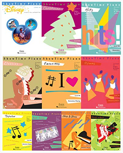 Faber Piano Adventures ShowTime Piano Level 2A Books Set (10 Books) - Disney, Christmas, Favorites, Classics, Popular, Hits, Hymns, Kids' Songs, Jazz&Blues, Rock'n Roll